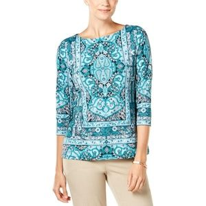 Charter Club Blouse Boat Top Turquoise Paisley